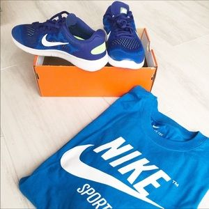 Nike Free Run Blue/White Running Sneakers Shoes.